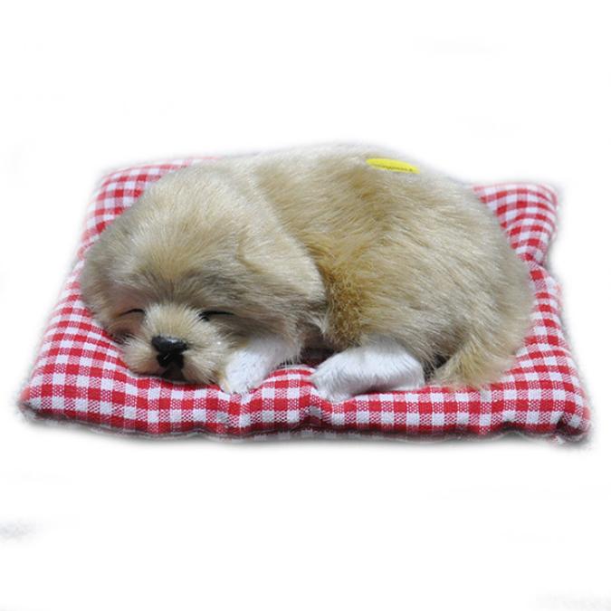 หมานอนหลับบนเบาะแดง สีน้ำตาลอ่อน 17x13 CM [มีเสียง]