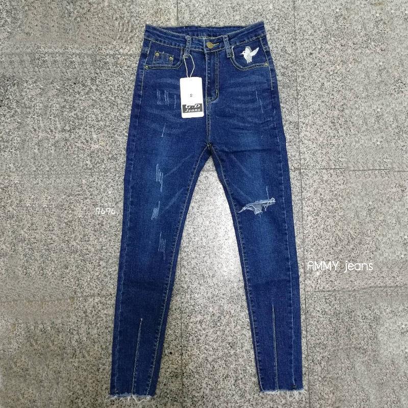 กางเกงยีนส์ขาเดฟ สีเข้ม ปักนกข้างกระเป๋า