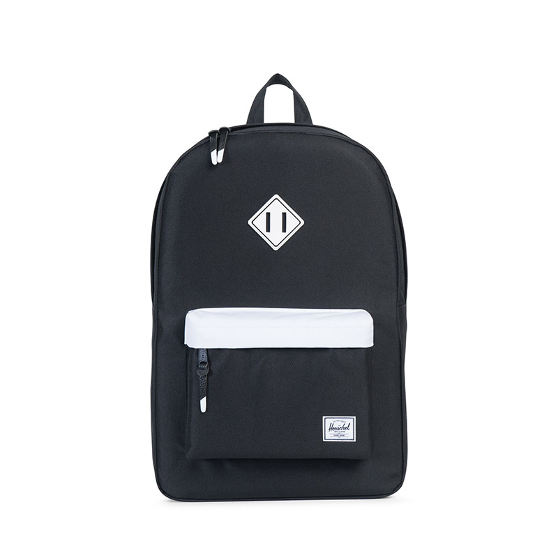 Herschel Heritage Backpack - Black / White / Black Rubber / White Inserts