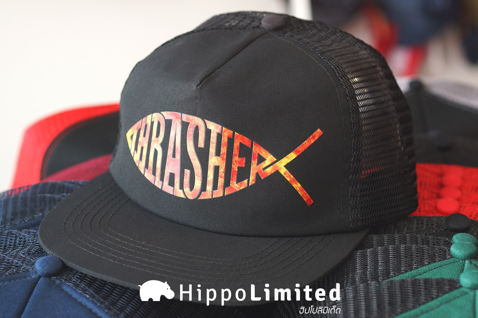 หมวก Thrasher Fish Mesh Snapback - Black