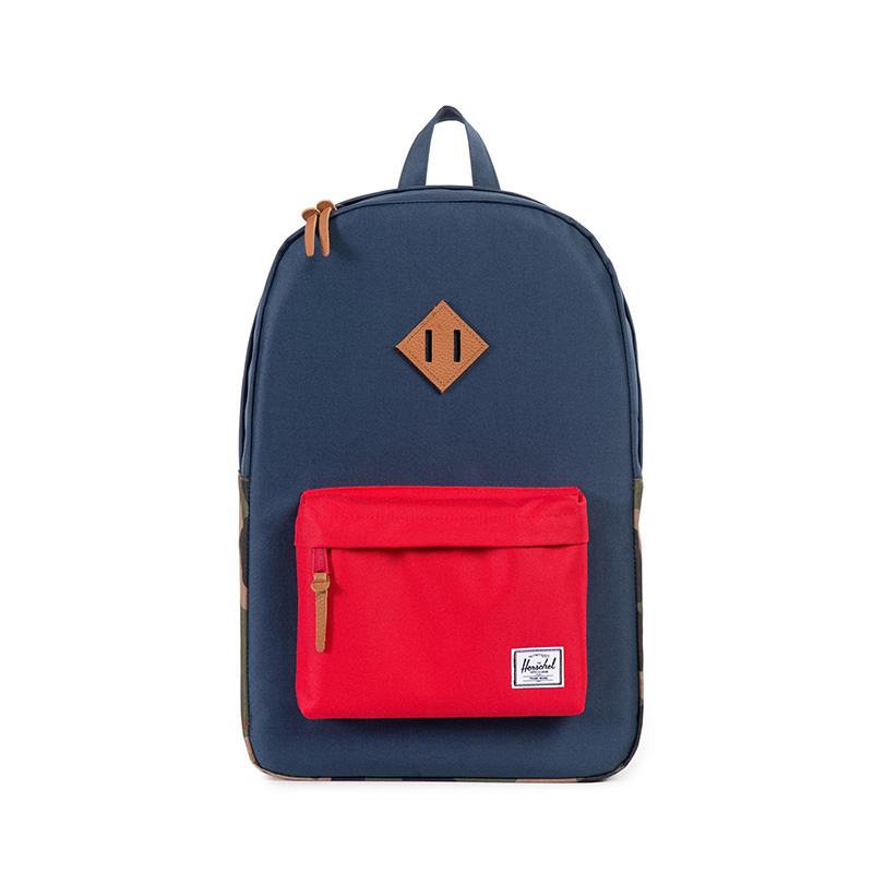 Herschel Heritage Backpack - Navy/Woodland Camo/Red/Tan Leather