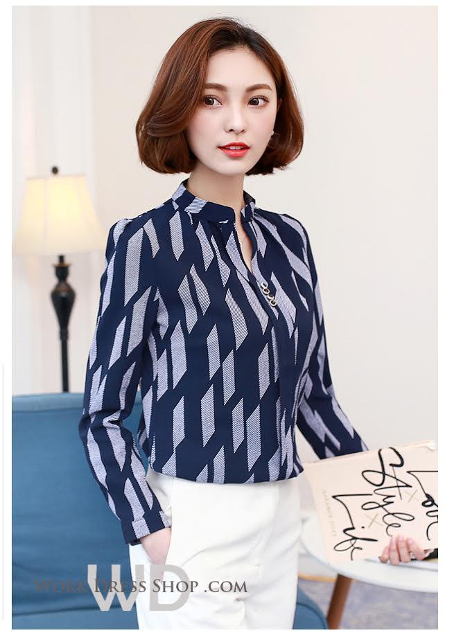 Preorder เสื้อทำงาน สีกรมลายกราฟิก คอจีน แขนยาว เนื้อผ้าระบายอากาศได้ดี