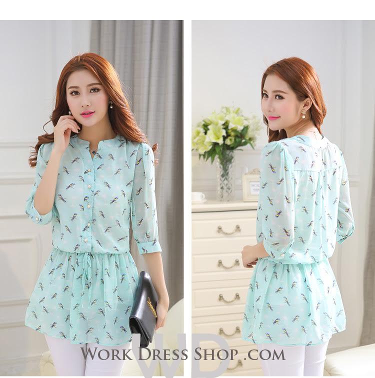 Preorder เสื้อทำงาน คอจีน สีเขียว ผูกเอว ผ้าพิมพ์ลายนก