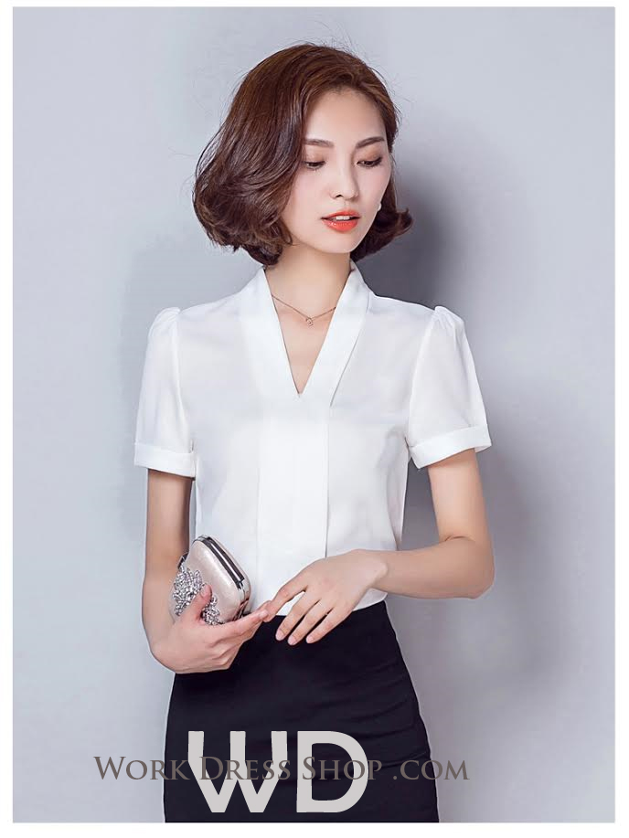 Preorder เสื้อทำงาน สีขาว เสื้อคอวี ไหล่ตั้งเป็นทรงสวย แขนสั้น