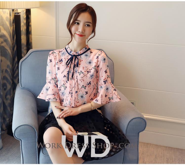 Preorder เสื้อทำงาน สีชมพู จับจีบด้านหน้าเก๋ๆ ช่วงคอและแขนแต่งระบายสวย ผูกโบว์น่ารัก