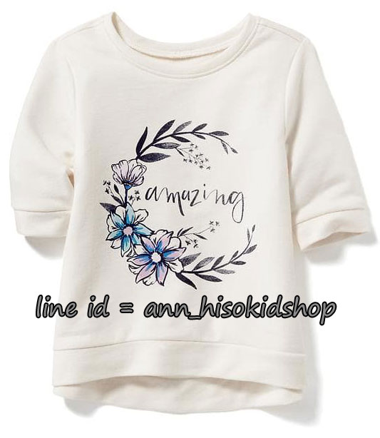1746 Old Navy Graphic Tee -Off White ขนาด 3,4 ปี