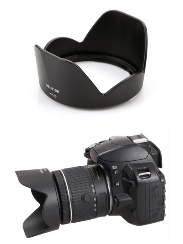 Nikon Lens Hood HB-N106 for AF-P DX NIKKOR 18-55mm f/3.5-5.6G VR, 1 NIKKOR VR 10-100mm f/4-5.6