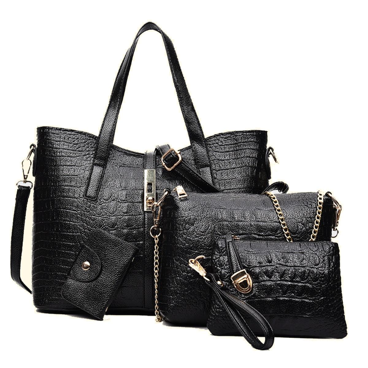 กระเป๋า PU set 4 ใบ (สีดำ)