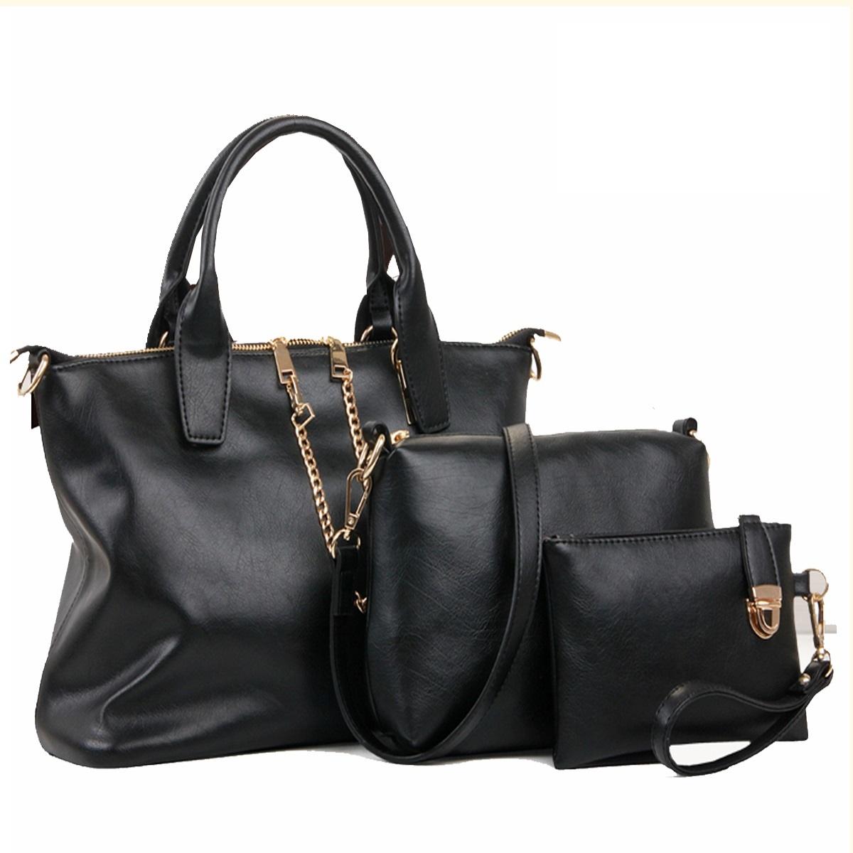กระเป๋า PU set 3 ใบ (สีดำ)