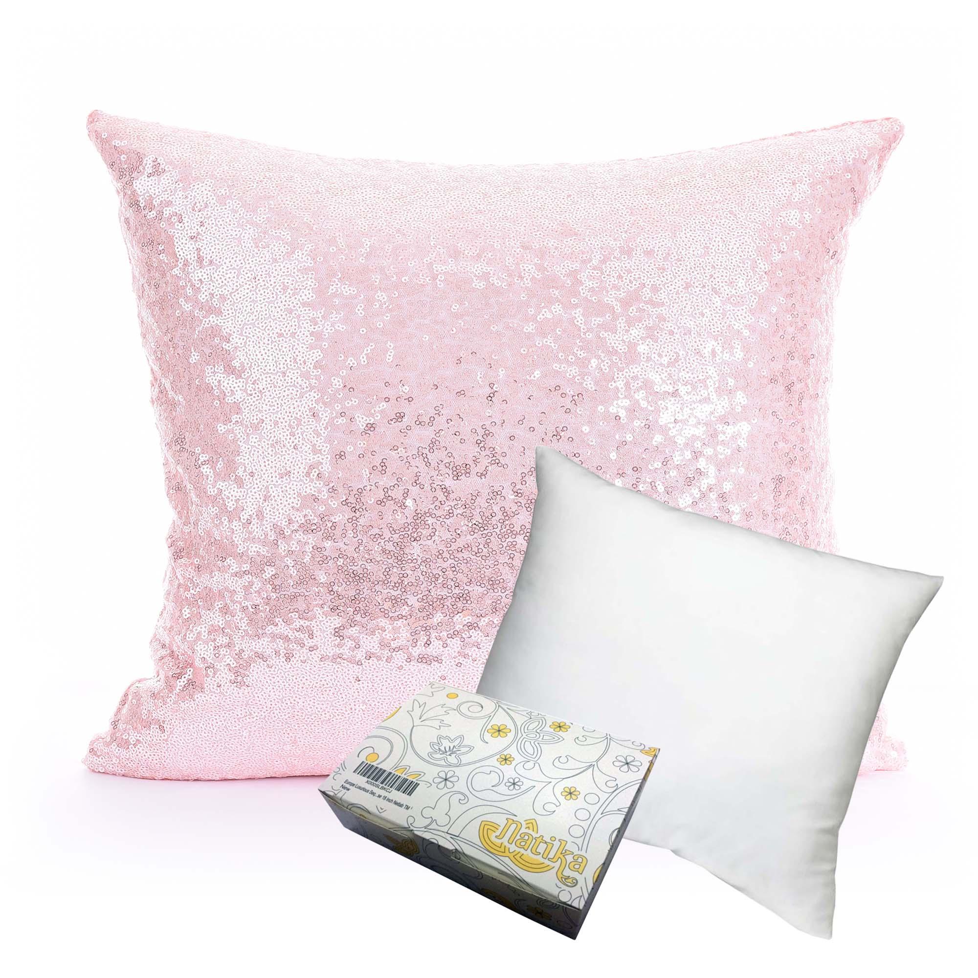 หมอนอิง Sequin Pillow Cushion Cover Pillow Case ขนาด 18 x 18 inch 45 cm. สีชมพูดอกกุหราบ