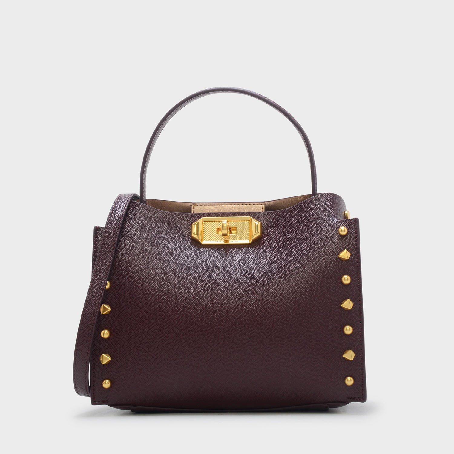 CHARLES & KEITH STUD-DETAIL HANDBAG *Burgundy