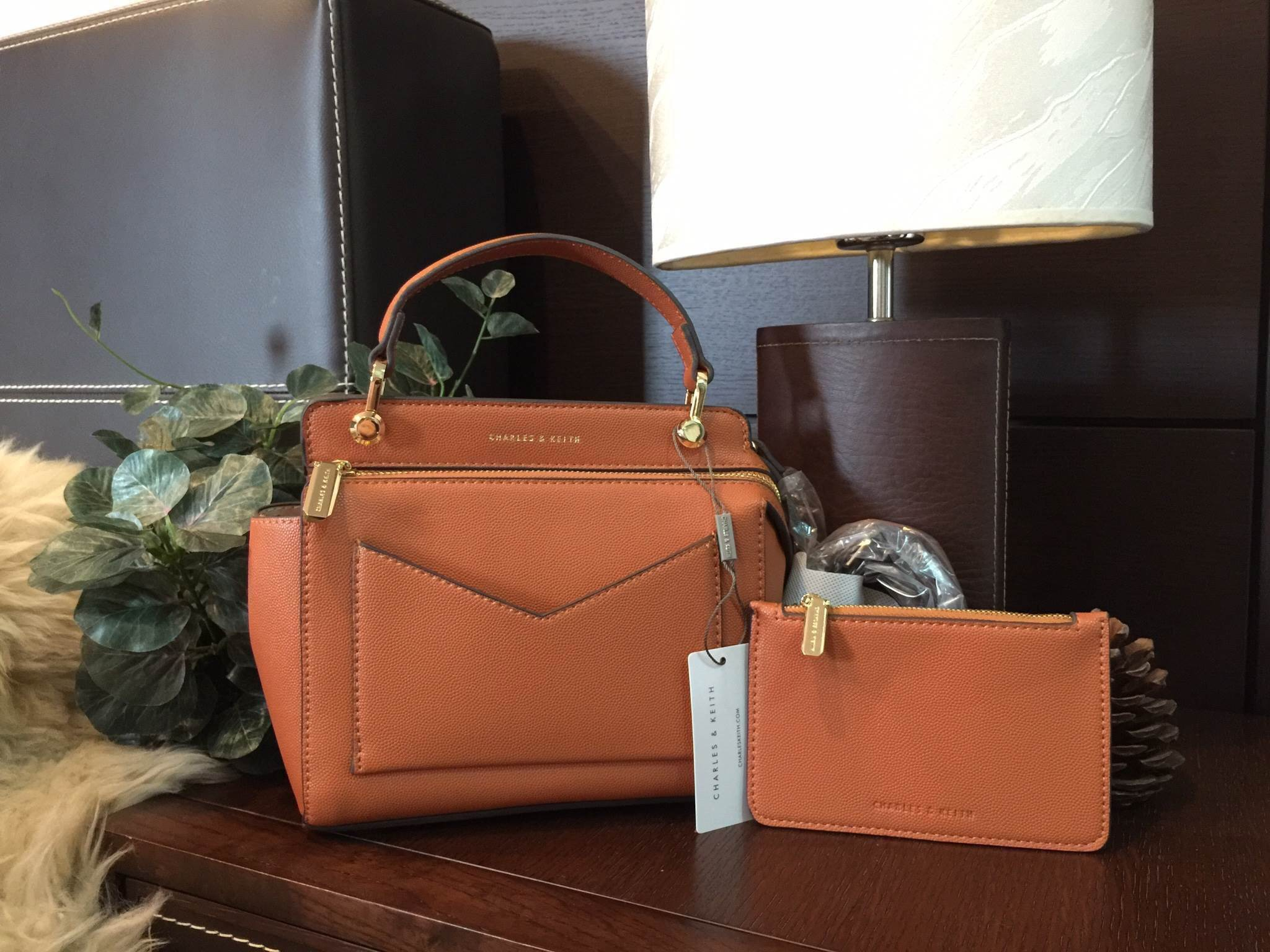 CHARLES & KEITH SMALL TOP HANDLE BAG *สีส้ม
