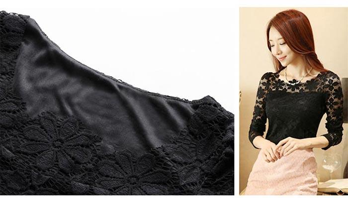 เสื้อลูกไม้สวยๆ แฟชั่นเกาหลี มีสีดำ สีชมพู สีน้ำเงิน ชุดผ้าลายลูกไม้ใส่ออกงาน เสื้อลูกไม้ ส่งฟรี EMS ส่งฟรี EMS แขนยาว ตาข่ายลายดอกไม้ สวย Sexy มีซับใน แมทซ์ชุดออกงานได้หลายโอกาส ใส่ออกงานแต่ง ใส่ทำงาน ไม่เชย