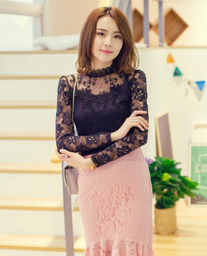 เสื้อลูกไม้สวยๆ แฟชั่นเกาหลี สีดำ แขนยาว เซ็กซี่ เสื้อลายลูกไม้ใส่ออกงาน