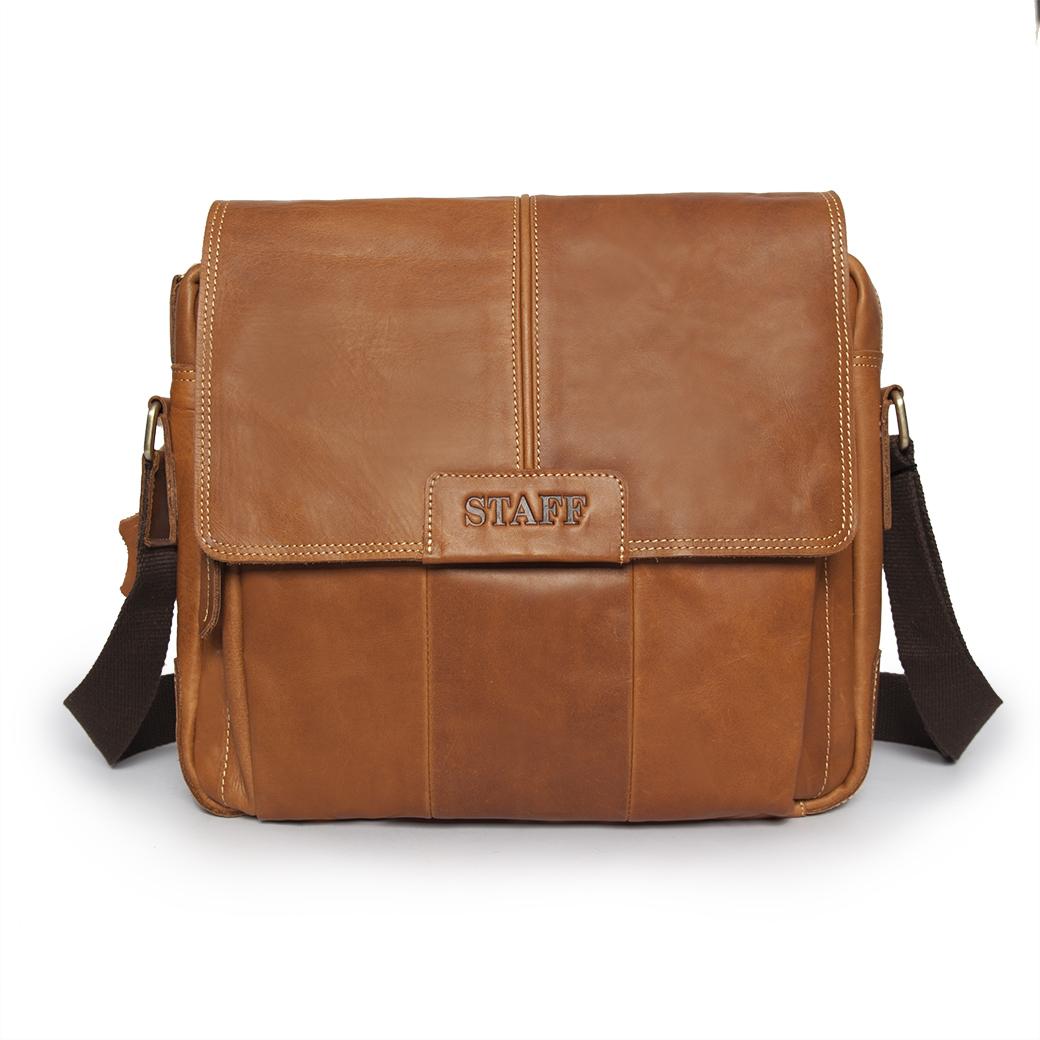 กระเป๋าสะพายข้างผู้ชาย กระเป๋าหนังแท้ ใส่ Note Bookเอกสารแฟ้ม A4 ขนาด 15 นิ้ว โทนสีน้ำตาล