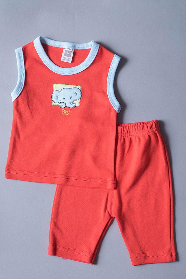 เสื้อแขนกุด กางเกงสามส่วน สีแดง ลายช้าง ขนาด 3-6 เดือน