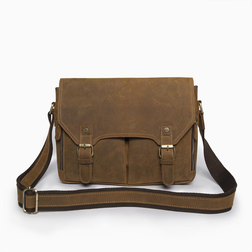 กระเป๋าสะพายข้าง ผู้ชาย ใส่แล็ปท็อป หนังสือ เอกสารต่างๆ เป็นกระเป๋าหนังแท้ (นูบัค หรือ Crazy Horse)