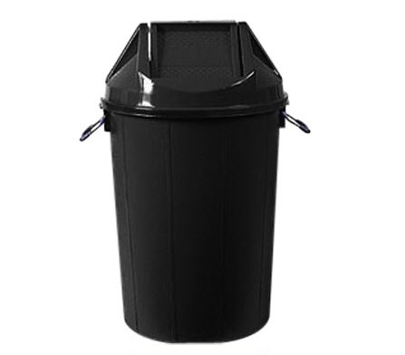 ถังขยะทรงกลมฝาแกว่ง100ลิตรสีดำ