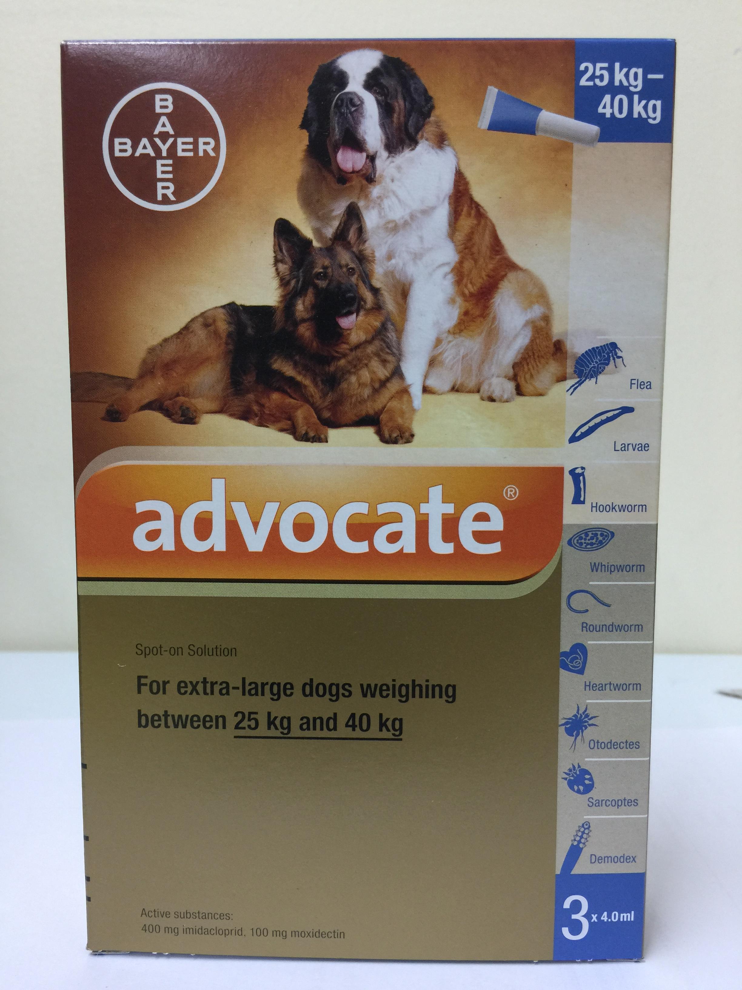 Bayer Advocate ยาหยอดเห็บ หมัด สำหรับสุนัขขนาดใหญ่ น้ำหนัก 25-40 กก. ขนาด 4.0 มล. Exp.05/19