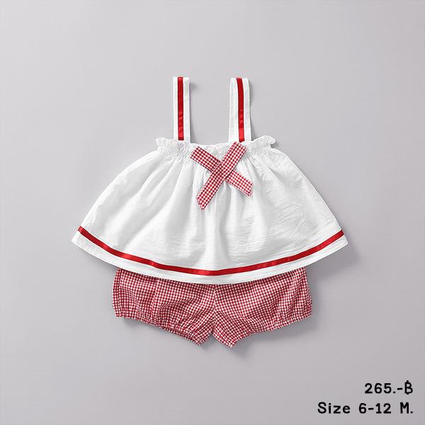 ชุดเสื้อกางเกง 6-12 เดือน สีขาวแดง