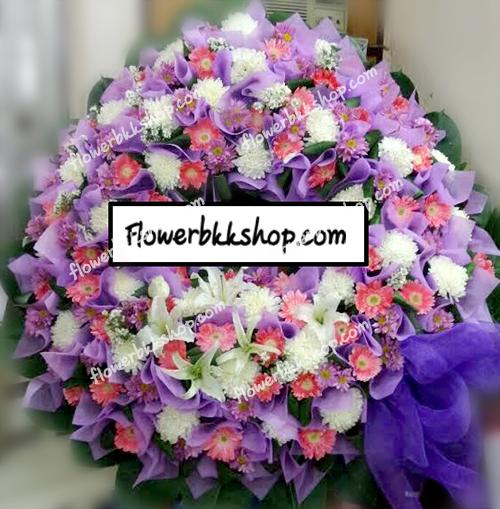 พวงหรีดดอกไม้สด รหัส WWR17
