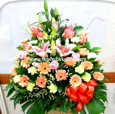 กระเช้าดอกไม้สด รหัส WBA17