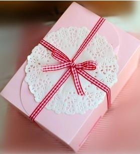 กล่องใส่คุ๊กกี้ ใส่ขนม สีชมพู 10 กล่อง BAKE074