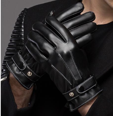 ถุงมือกันหนาวผู้ชาย หนัง PU คุณภาพดี (สีดำ)