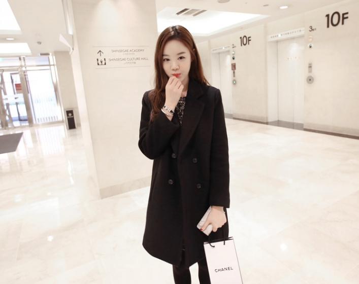 เสื้อโค้ท Winter autume woolen coat tide สีดำ