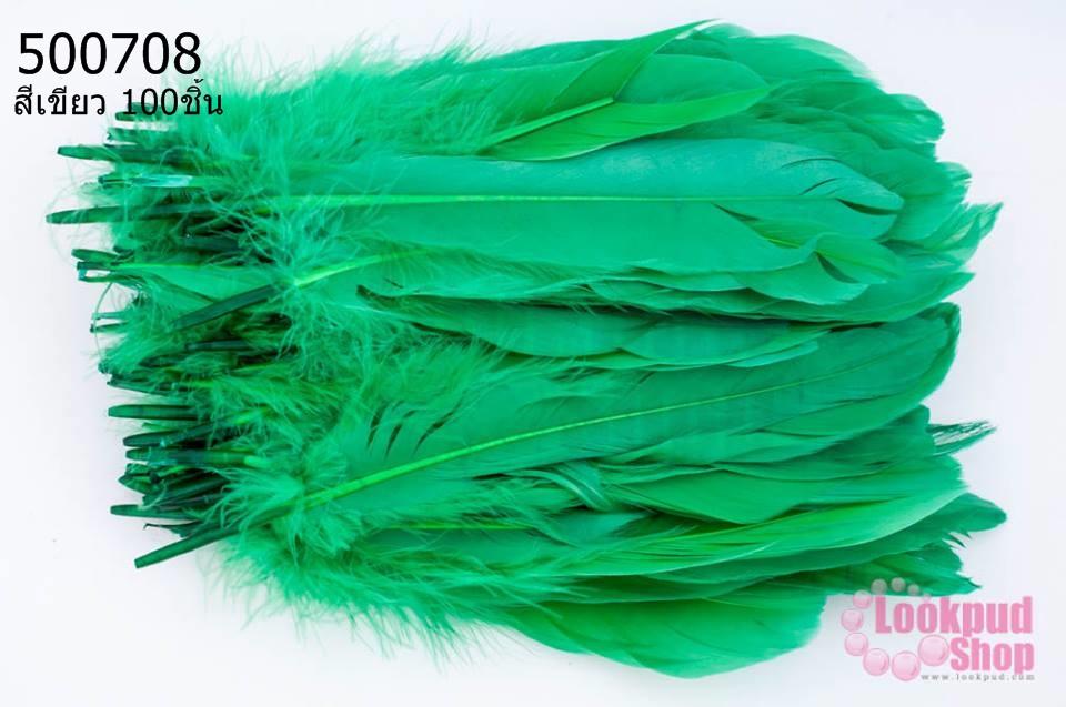 ขนนก(ก้าน) สีเขียว 100ชิ้น