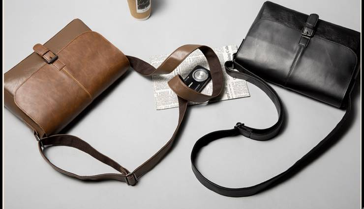กระเป๋าสะพายไหล่ พาดบ่า เอกสาร วินเทจ หนังเก่า สไตล์อังกฤษ สีดำ น้ำตาล