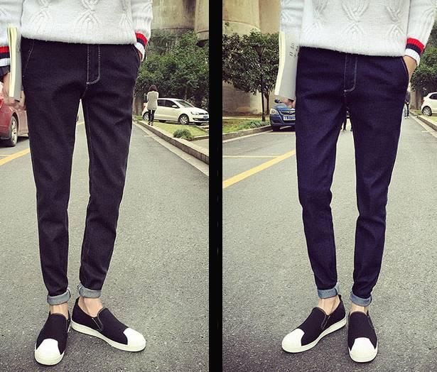 ดำ น้ำเงิน!!กางเกงยีนส์5ส่วน แฟชั่น เย็บขาวกระเป๋าซ่อน เอว No.27-36 ดำ น้ำเงิน