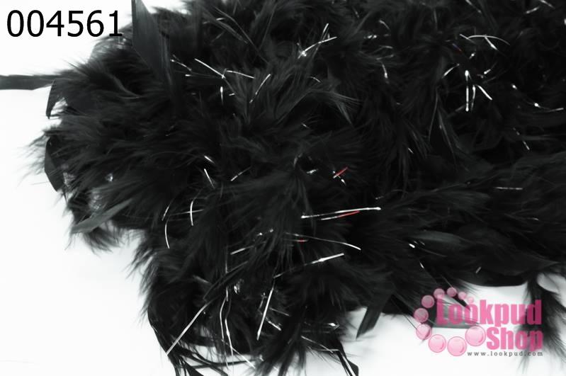 ขนนก มีดิ้น สีดำ (1เส้น)