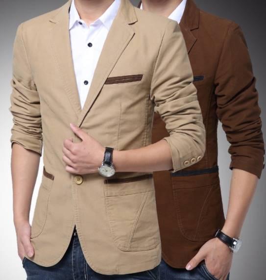 เสื้อสูทลำลอง แฟชั่น คลิบกระเป๋าทูโทน Size No.35-37-39-41-43 45น้ำตาล กากี