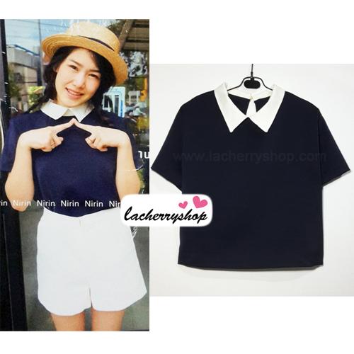 เสื้อแฟชั่น เสื้อทำงาน ผ้าฮานาโกะ สีกรมท่า คอปกเก๋ๆ แบบยอดนิยม สินค้าคุณภาพ ราคาไม่แพง