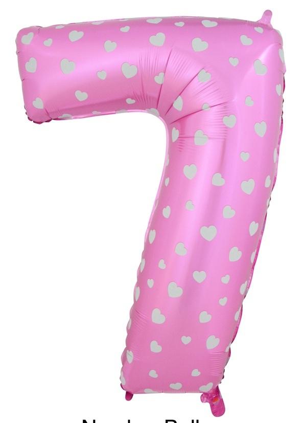 """ลูกโป่งฟอยล์รูปตัวเลข 7 สีชมพูพิมพ์ลายหัวใจ ไซส์จัมโบ้ 40 นิ้ว - Number 7 Shape Foil Balloon Size 40"""" Pink Color printing Heart"""