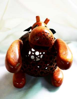โคมไฟกะลามะพร้าวฮิปโปโปเตมัส Coconut Shell Lamp Hippo