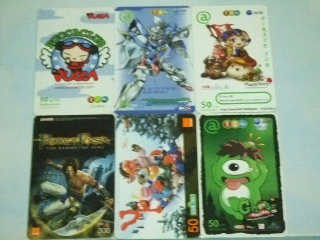 บัตรลายการ์ตูนและเกมส์ออนไลน์ 6 ใบ