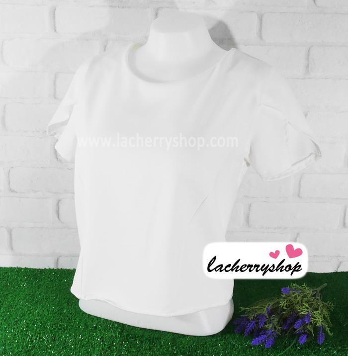 เสื้อผ้าแฟชั่น เสื้อทำงาน ผ้าฮานาโกะตัดแต่งแขนเก๋ๆ สีขาว แบบสวยเรียบหรู สินค้าคุณภาพดี ราคาไม่แพง
