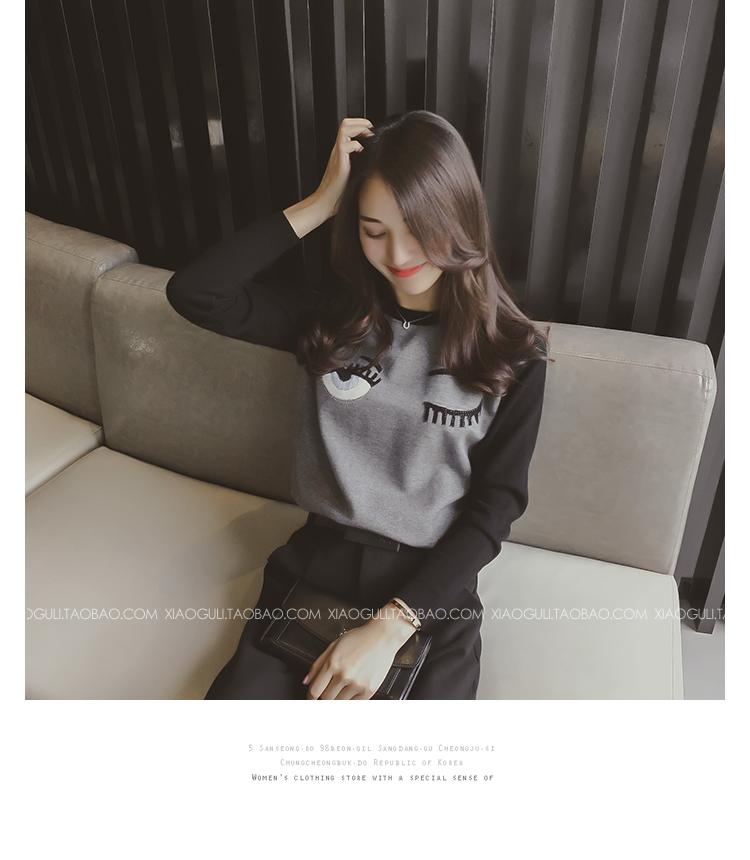 เสื้อแฟชั่นเกาหลีแขนยาว พิมพ์ลายด้านหน้าเก๋ๆ ตามภาพ เนื้อผ้า cotton สีเทา-ดำ