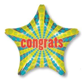 ลูกโป่งฟลอย์นำเข้า Congrats Retro Star / Item No. AG-28036 แบรนด์ Anagram ของแท้