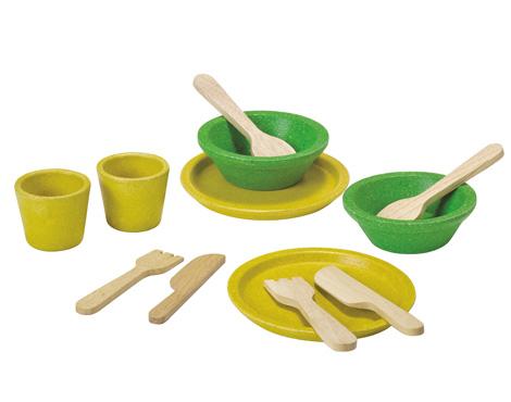 ของเล่นไม้เสริมพัฒนาการเด็ก Tableware Set สีเหลือง-เขียว (ส่งฟรี)