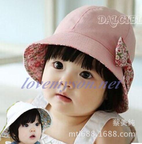 หมวกเด็กผู้หญิง ลายดอกใส่ได้สองด้าน PB12