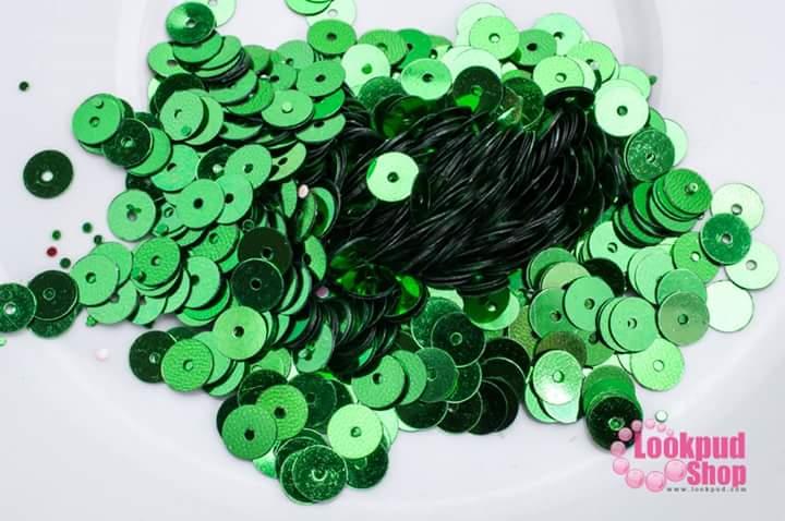 เลื่อมปัก กลม สีเขียว 6มิล(5กรัม)