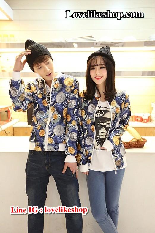 เสื้อกันหนาวคู่รักพร้อมส่ง แฟชั่นคู่รัก ชาย +หญิงเสื้อกันหนาวคู่รัก แบบซิบ ลายอวกาศ
