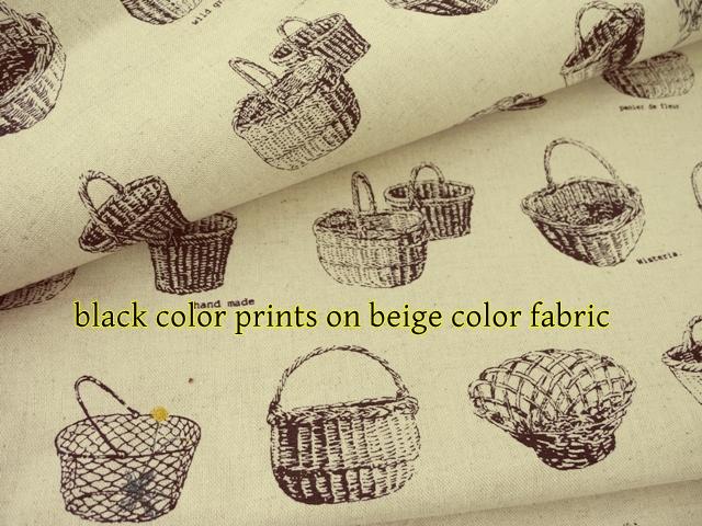 ผ้าคอตตอนลินินญี่ปุ่น ของ Daiwabo ลายตระกร้าดอกไม้สีดำ พื้นครีม