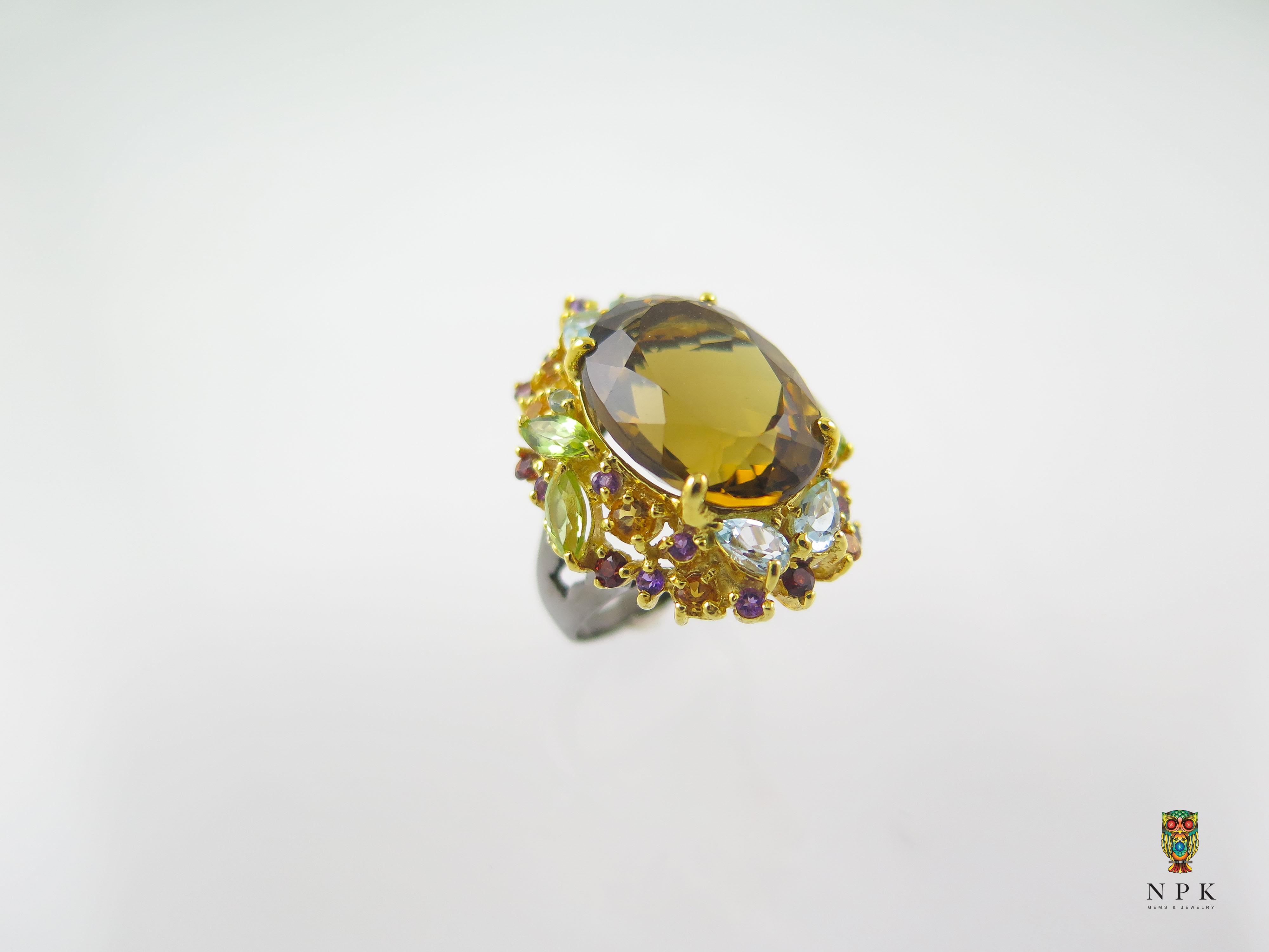 แหวนซินทรีนเข้มล้อมแฟนซี (citrine with fancy gems)
