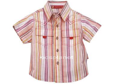 K546SA Kidsplanet เสื้อผ้าเด็กชาย เสื้อเชิ้ตแขนสั้น ลายริ้วโทนชมพู-เหลือง สดใส กระเป๋าหน้า เหลือ Size 12M
