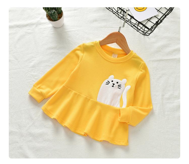 เสื้อแขนยาวสีเหลืองลายน้องแมว [size 2y-3y-4y-5y]