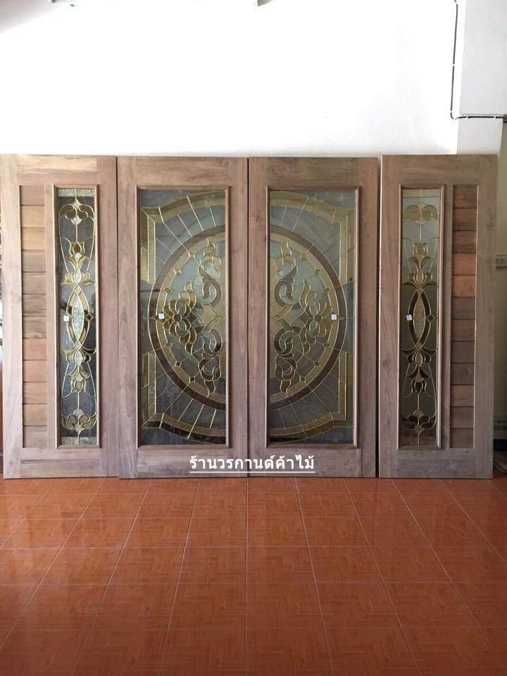 ประตูไม้สักกระจกนิรภัย เต็มบาน ชุด4ชิ้น เกรดA รหัส NOT17